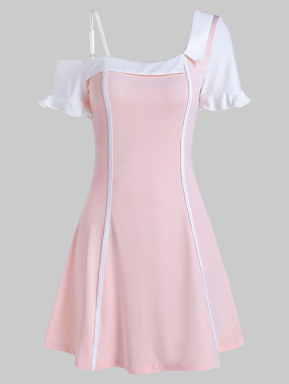 Unique Skew Neck Contrast Color Ruffled Mini Dress