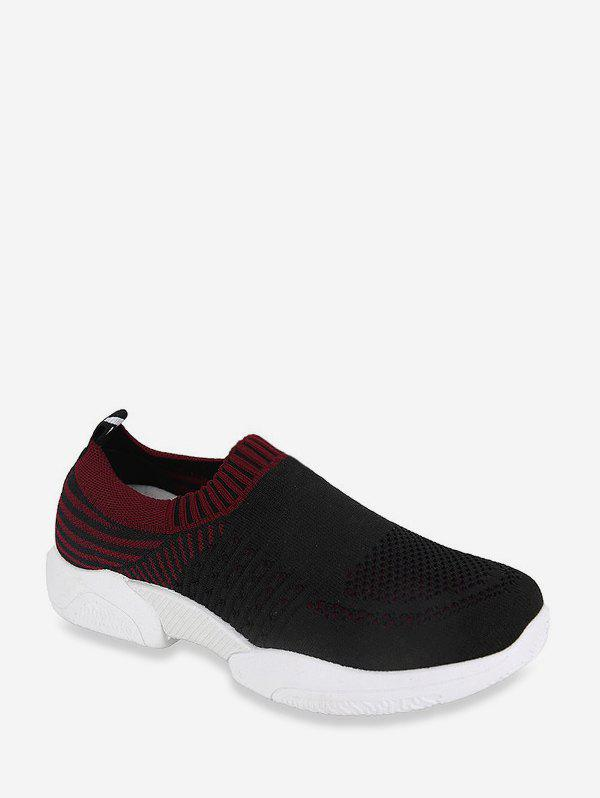 Chic Two Tone Woven Mesh Slip On Running Sneakers