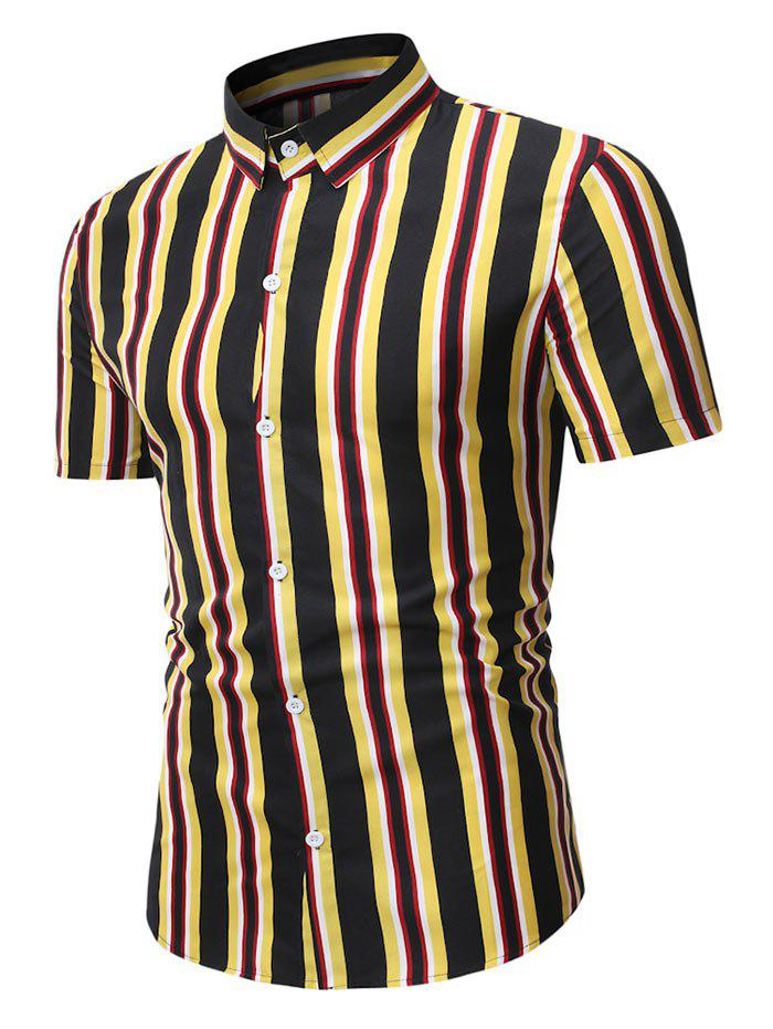 Affordable Short Sleeve Stripes Casual Shirt