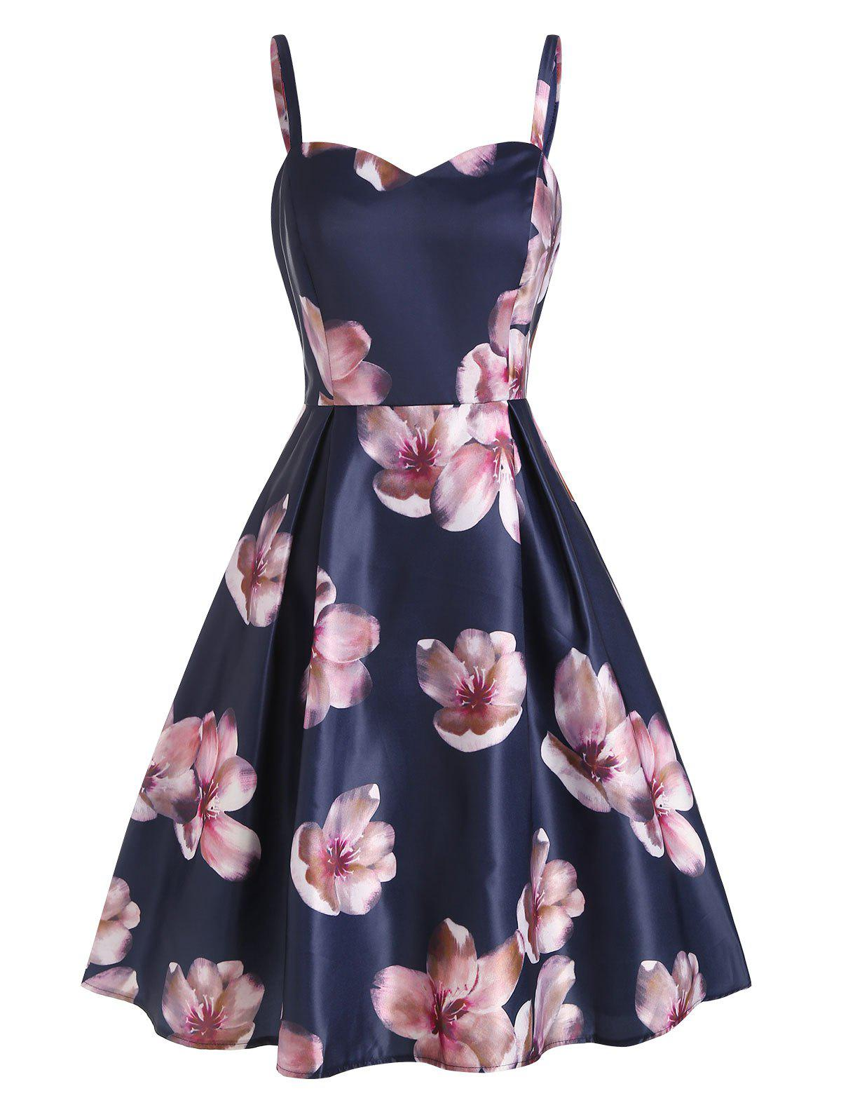 Hot Open Back Sleeveless Floral Print Dress