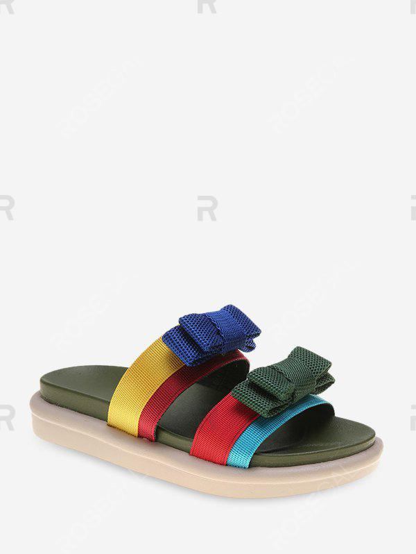 Chic Dual Bowknot Straps Casual Slides