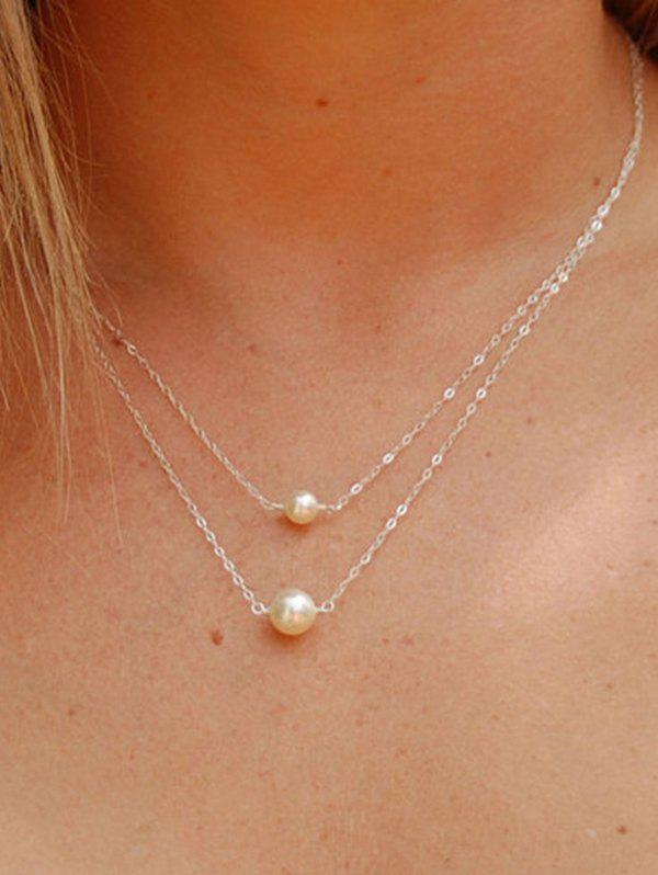 Double Layer Faux Pearl Chain Necklace, Gold