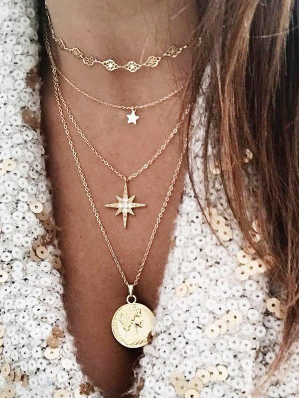 Multilayered Star Portrait Pendant Necklace, Gold