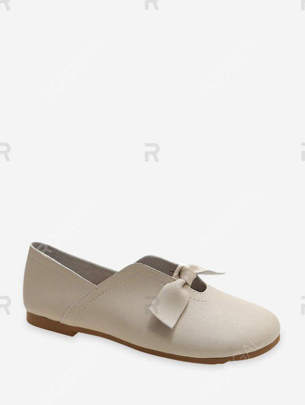 Affordable Front Knotted Soft Leather Loafer Flats