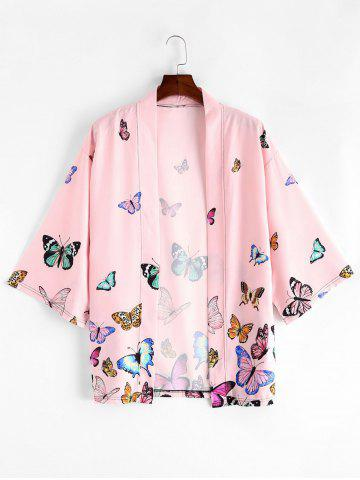 Butterfly Allover Print Open Front Kimono Cardigan - PINK - 2XL