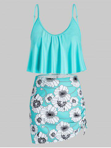 Plus Size Floral Print Ruffled Cinched Three Piece Swimsuit