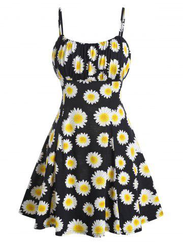 Sunflower Print Ruched Mini Cami Dress