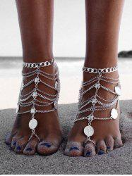 Toe Ring Layered Chain Coin Anklet -