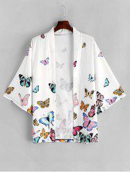 Butterfly Allover Print Open Front Kimono Cardigan