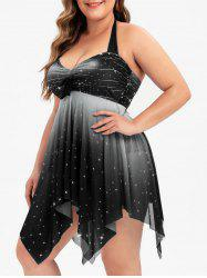 Bowknot Mesh Panel Handkerchief Sparkle Stars Plus Size Tankini Swimsuit -