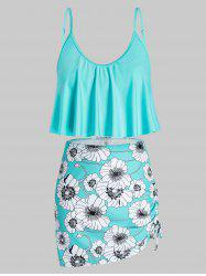 Plus Size Floral Print Ruffled Cinched Three Piece Swimsuit -
