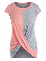 Plus Size Cap Sleeve Criss Cross T-shirt -
