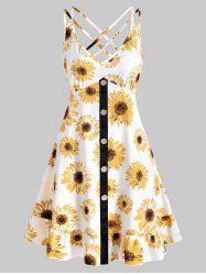 Sunflower Print Mock Button Mini Cami Dress -