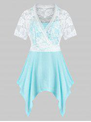 Plus Size Lace Sheer Crop Top and Asymmetrical Cami Top Set -