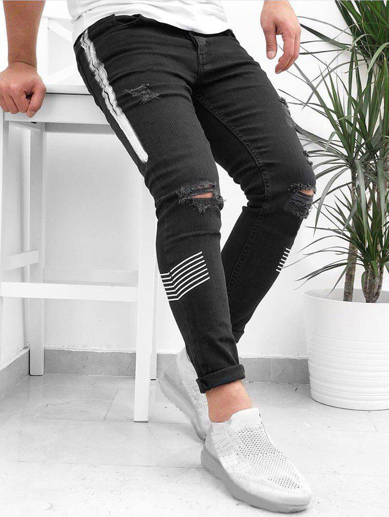 Sale Striped Pattern Destroyed Cuffed Jeans
