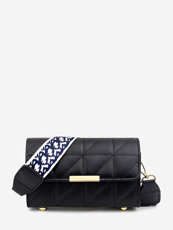 Chic Quilted Leather Wide Strap Flap Crossbody Bag