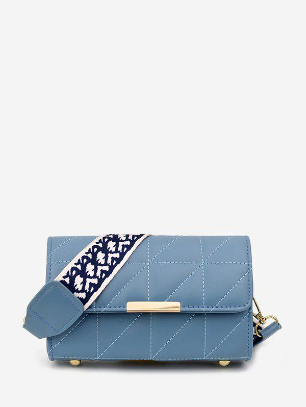 Discount Quilted Leather Wide Strap Flap Crossbody Bag