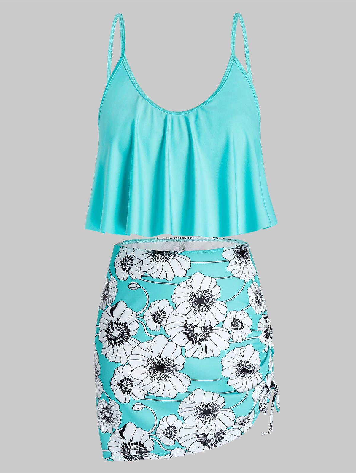 Plus Size Floral Print Ruffled Cinched Three Piece Swimsuit Rosegal