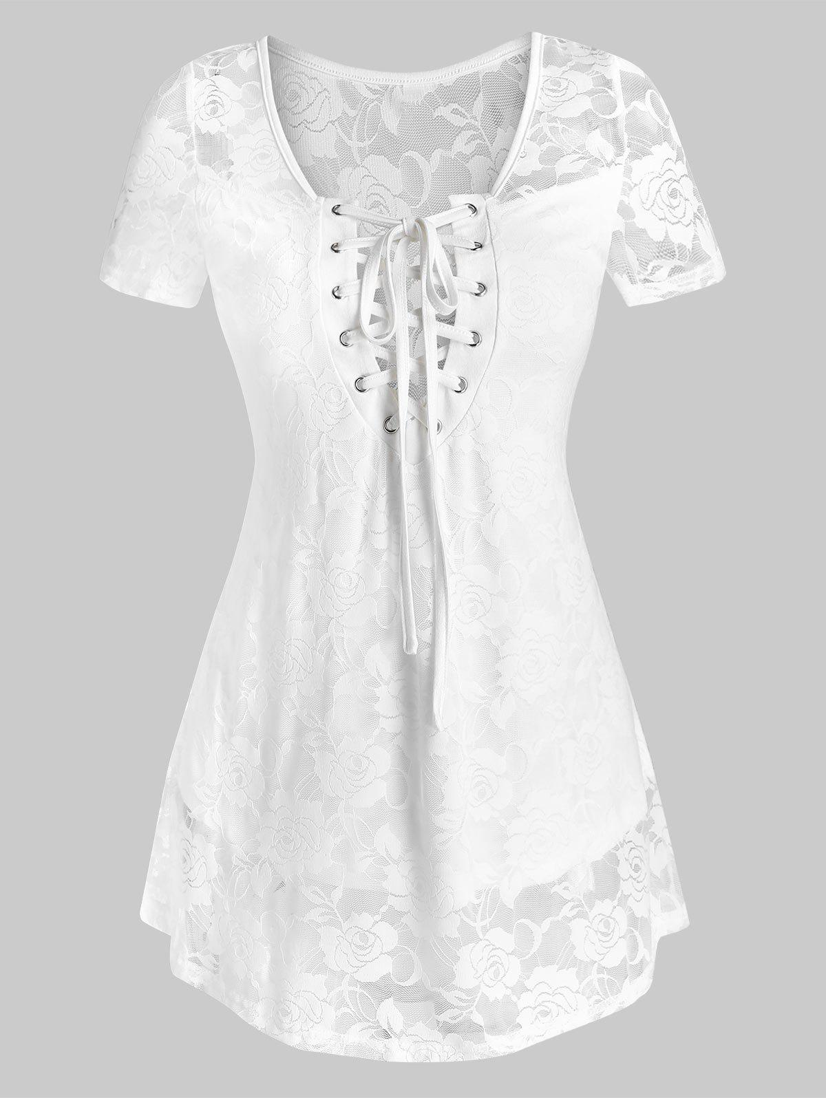 New Lace-up Flower Lace Top