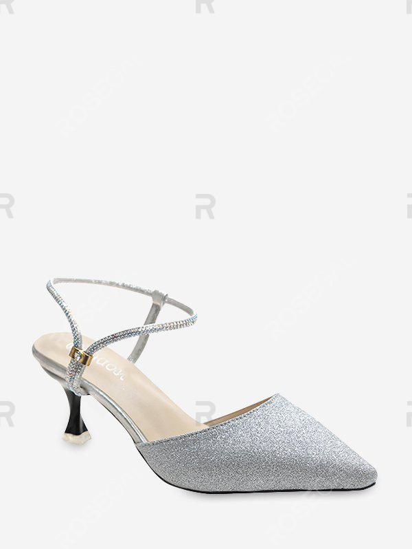 Hot Glitter Pointed Toe Convertible Ankle Strap Pumps