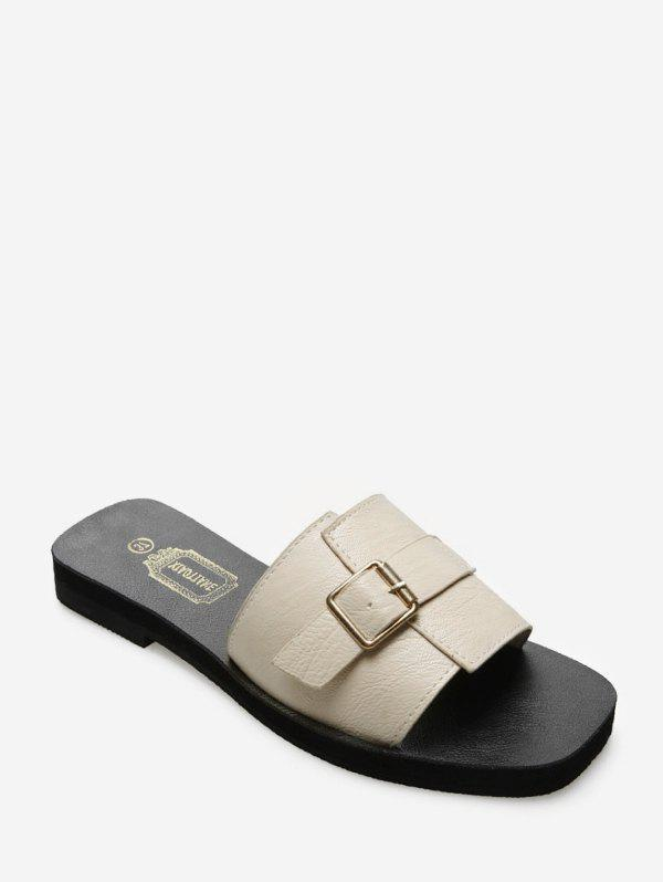 Latest Buckled Detail Leather Flat Slides