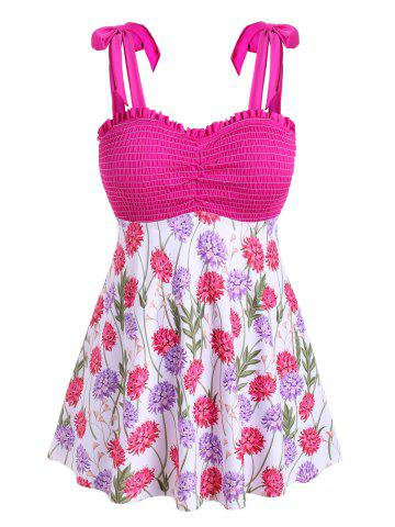 Tie Shoulder Smocked Floral Plus Size Tankini Swimwear