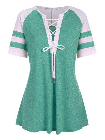 Colorblock Stripes Panel Lace Up Plus Size Top - SEA GREEN - L