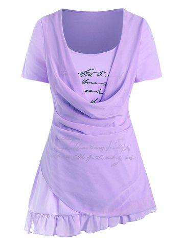Plus Size Cowl Overlay Letter Print Graphic T Shirt