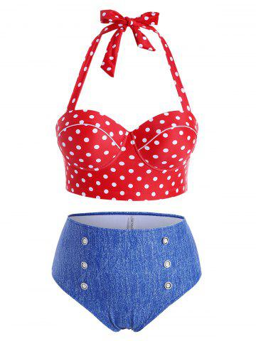 Plus Size Polka Dot Underwire High Rise Bikini Swimwear - RED - 5X