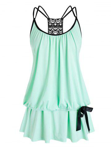 Plus Size Strappy Lace Crochet Layered Tank Top - MINT GREEN - 3X