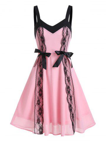 Bowknot Lace Embellished Chiffon Dress