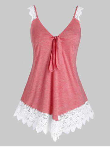 Plus Size Space Dye Knot Lace Edge Tank Top - PINK - 5X