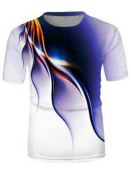 Abstract Line Print Crew Neck Short Sleeve T Shirt -