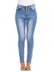 Button Fly High Waisted Skinny Jeans -