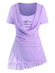 Plus Size Cowl Overlay Letter Print Graphic T Shirt -