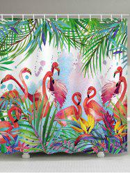 Flamingo Leaf Print Waterproof Shower Curtain -