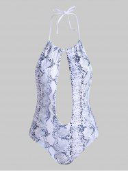 Snake Print Keyhole Halter One-piece Swimsuit -