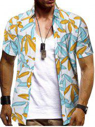 Contrast Color Leaves Print Button Up Short Sleeve Shirt -