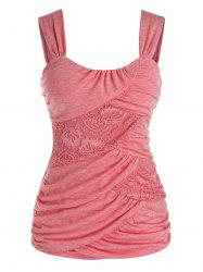 Plus Size Lace Insert Ruched Tank Top -