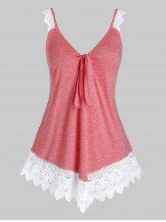Plus Size Space Dye Knot Lace Edge Tank Top -