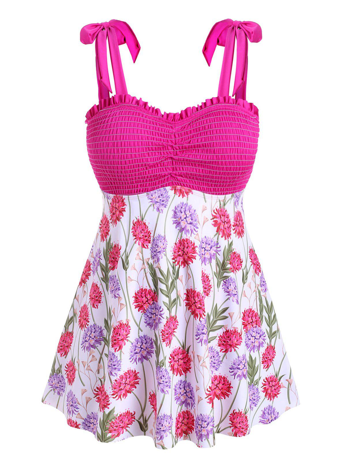 Tie Shoulder Smocked Floral Plus Size Tankini Swimwear фото