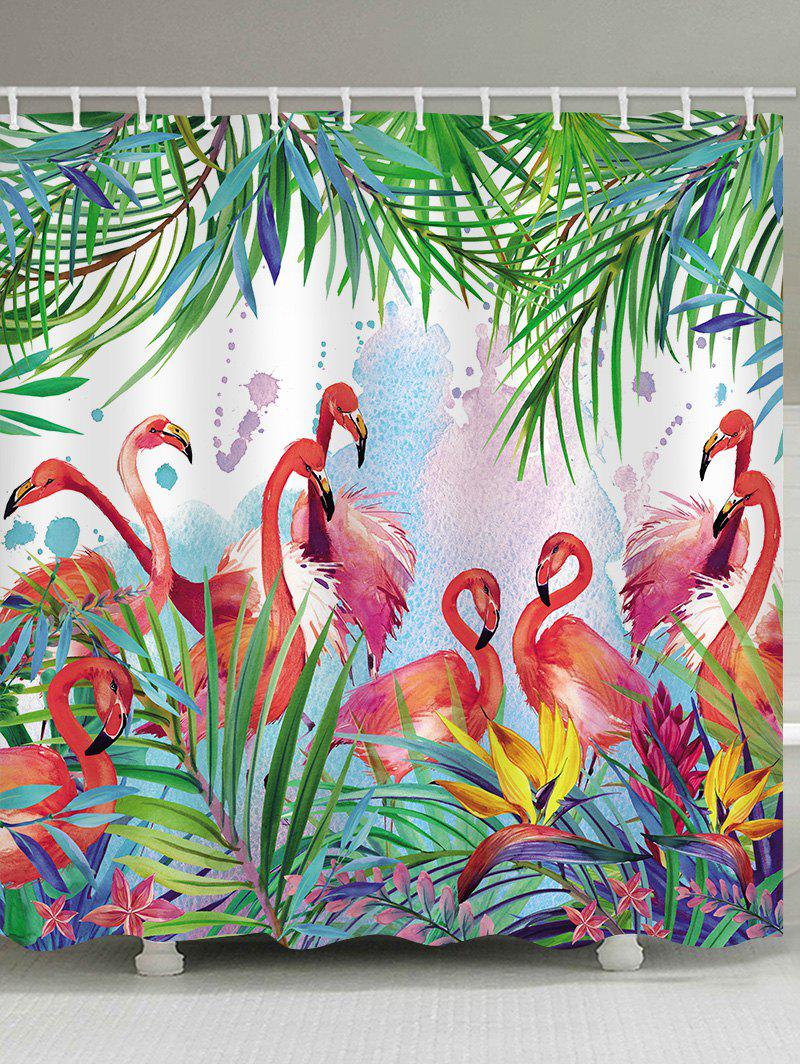 Latest Flamingo Leaf Print Waterproof Shower Curtain