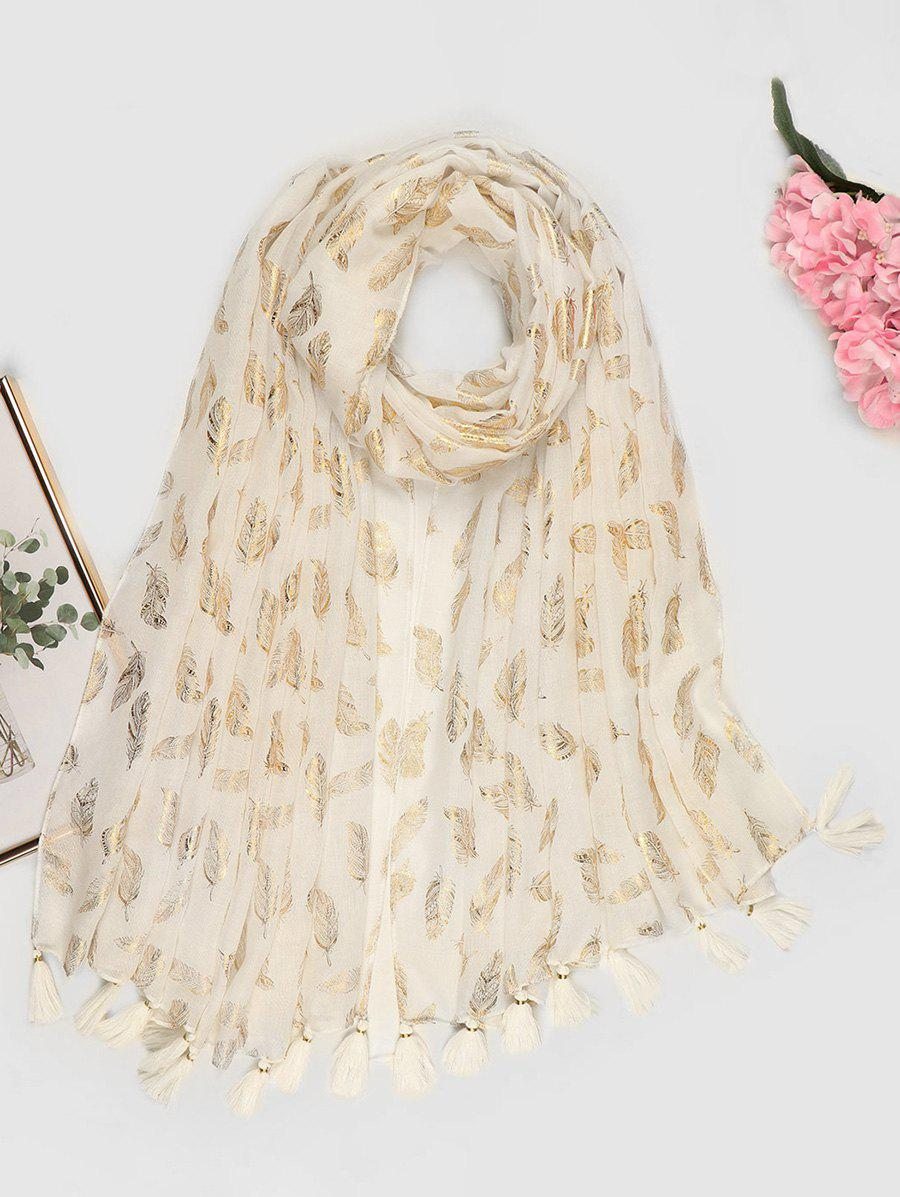 Cheap Feather Pattern Gold Stamping Tassel Scarf