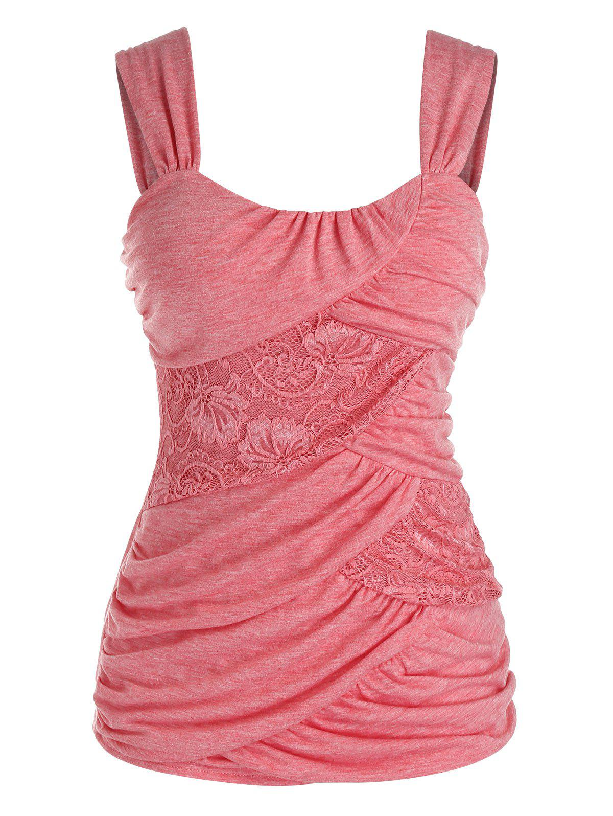 Plus Size Lace Insert Ruched Tank Top фото