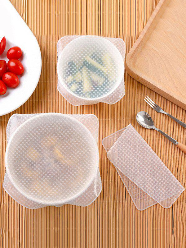 Hot 4 Pcs Reusable Silicone Stretch Food Seal Wrap
