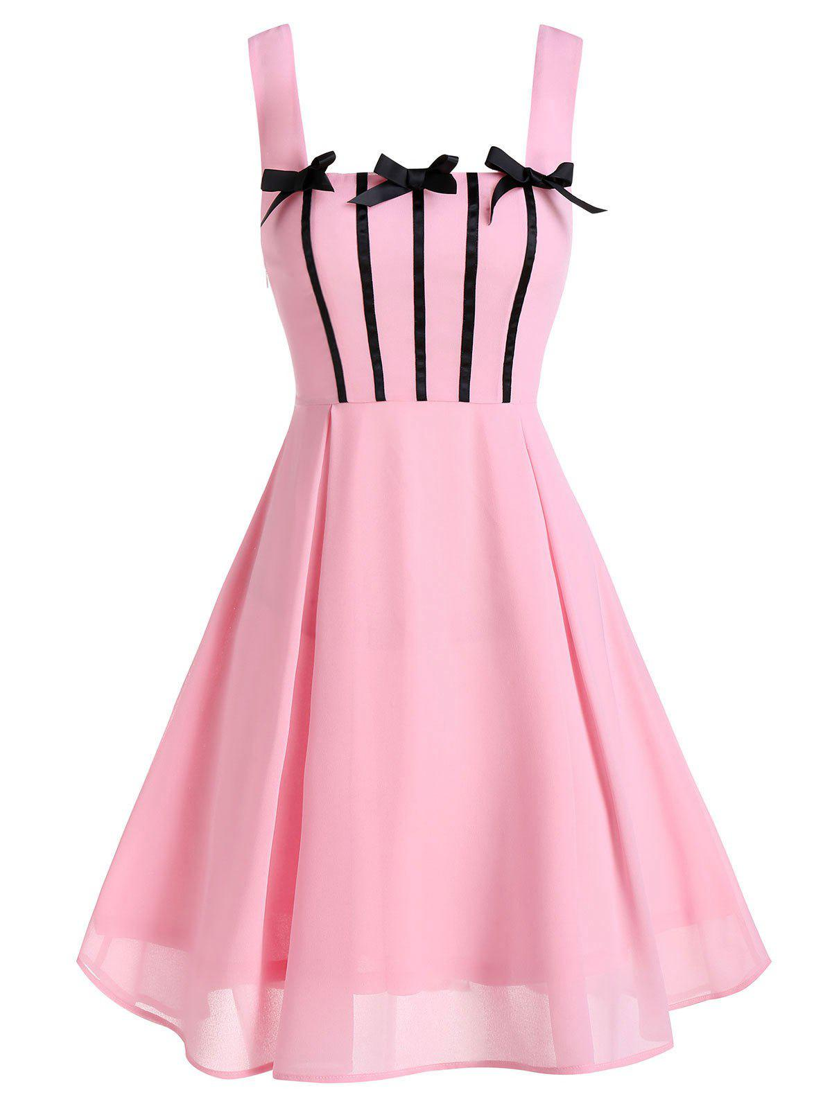 Outfits Sleeveless Bow Detail Chiffon Dress