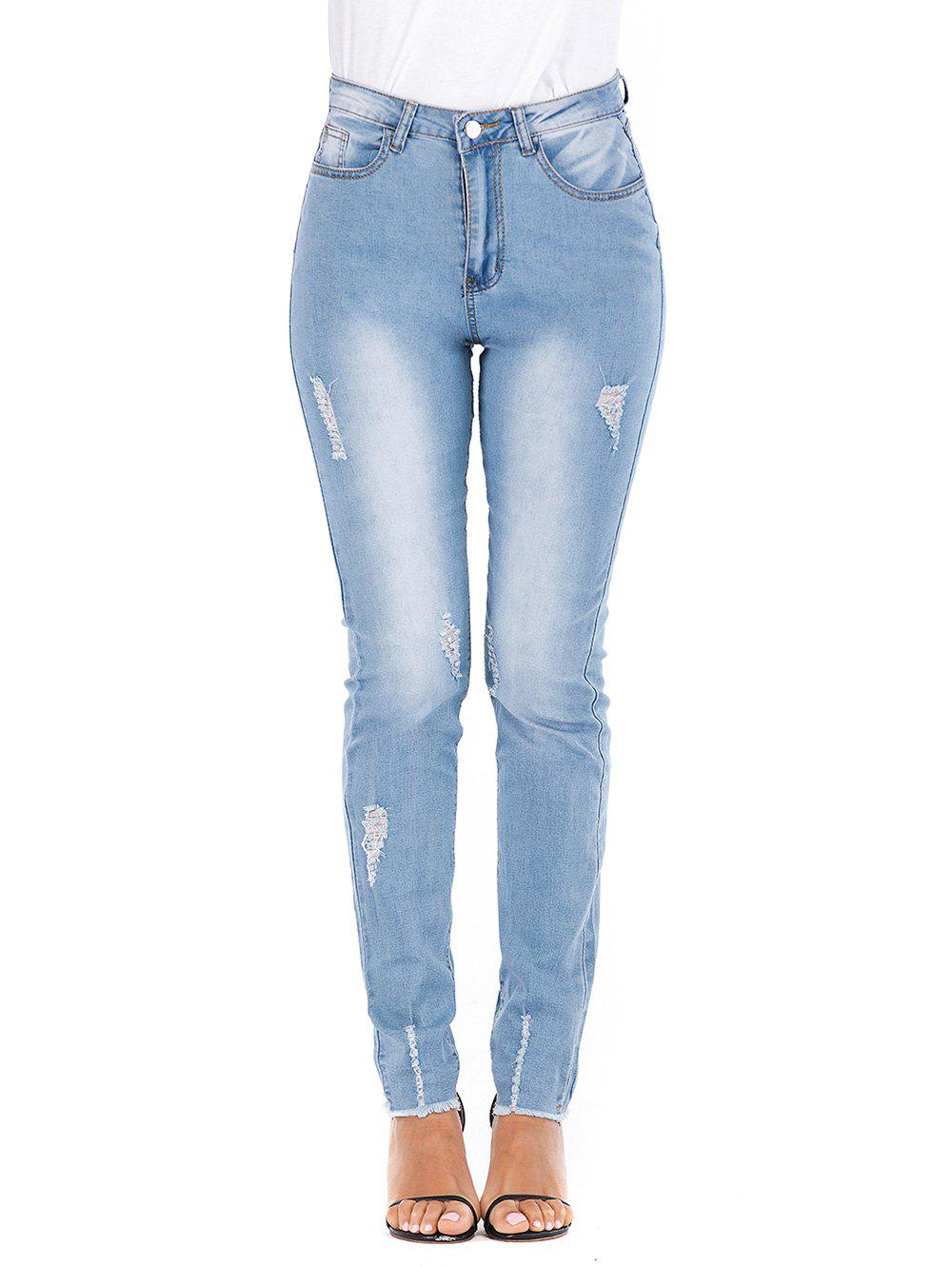 Online Frayed Hem High Waisted Distressed Skinny Jeans