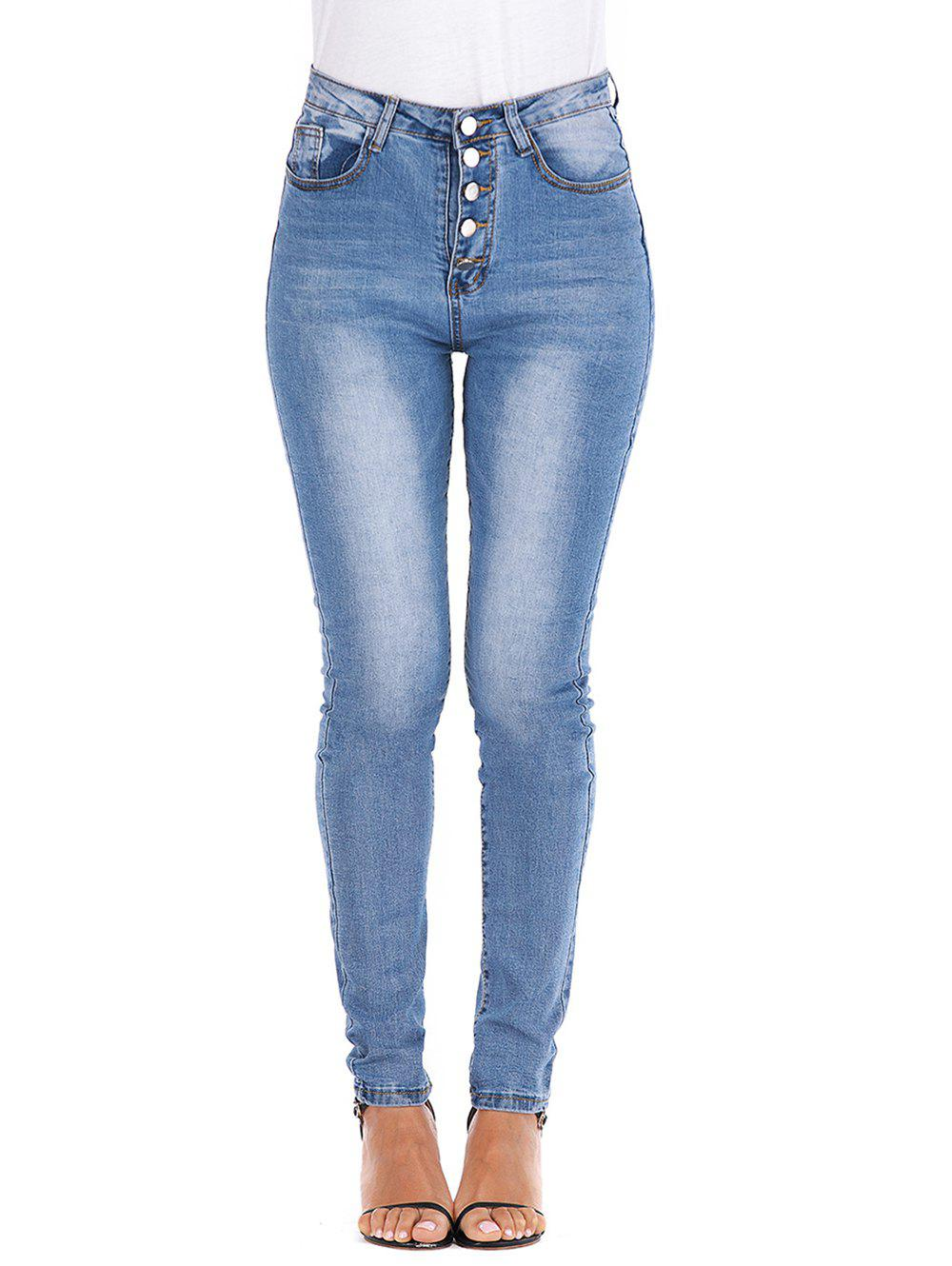 Latest Button Fly High Waisted Skinny Jeans