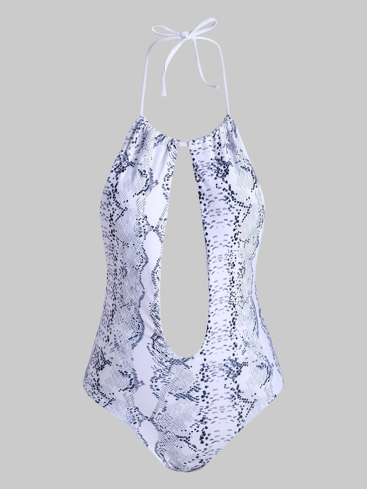 Latest Snake Print Keyhole Halter One-piece Swimsuit