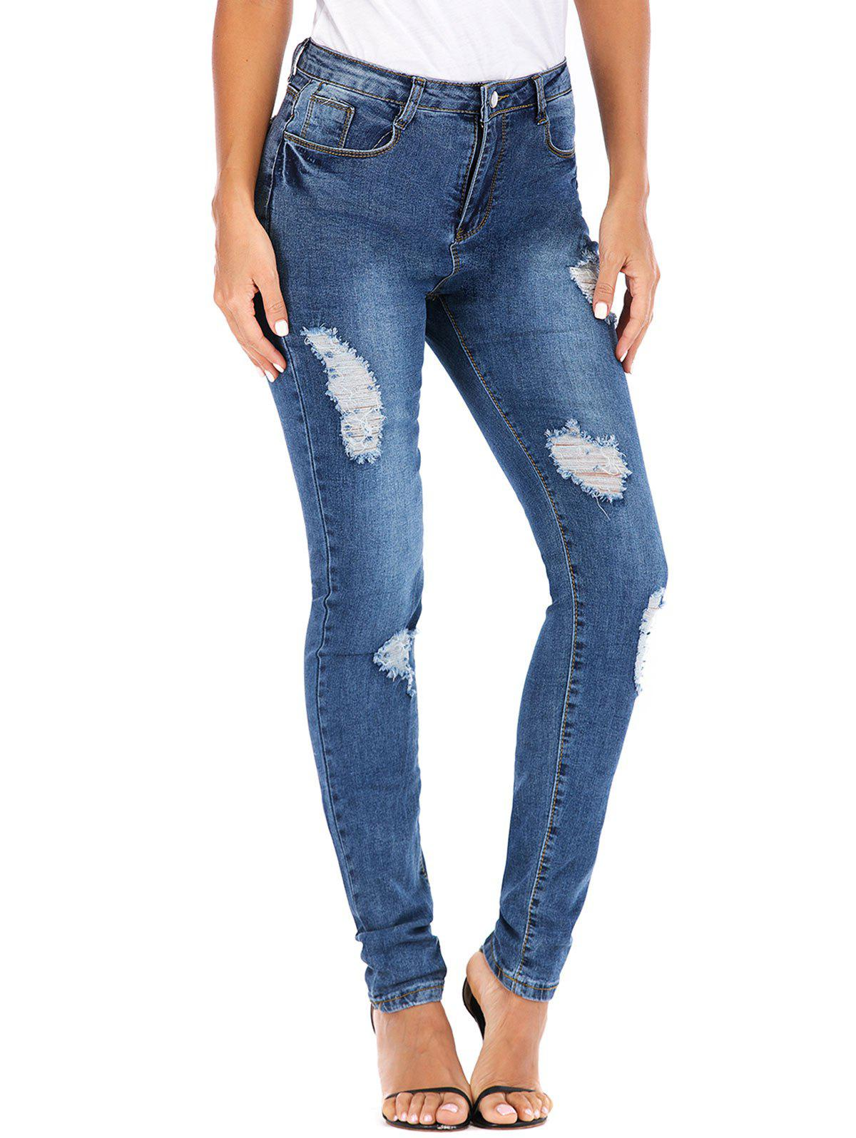 Unique Bleach Wash High Waisted Ripped Skinny Jeans